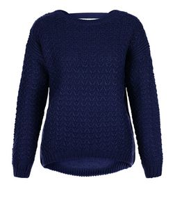 Navy Chunky Stitch Bar Back Jumper  | New Look