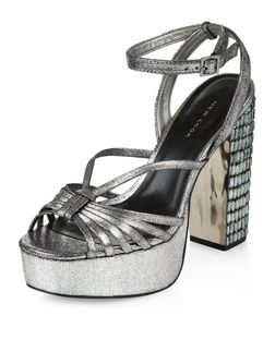 Pewter Embellished Block Heel Sandals  | New Look
