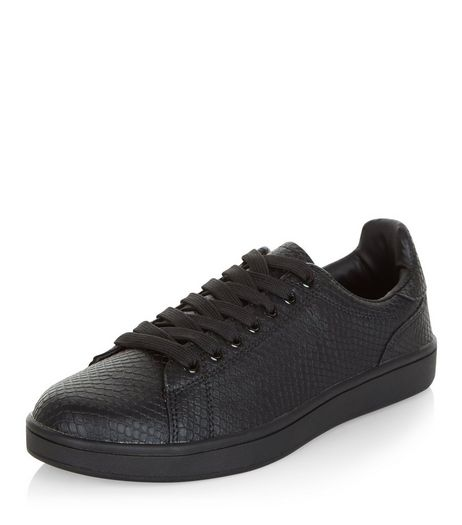 Black Snakeskin Textured Trainers  | New Look