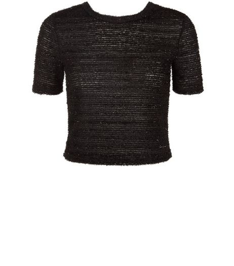 Teens Black Short Sleeve Tinsel Jumper | New Look