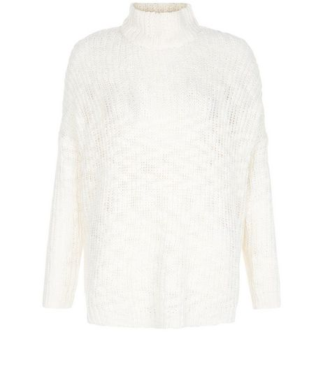 Cream Textured Turtle Neck Slub Jumper  | New Look