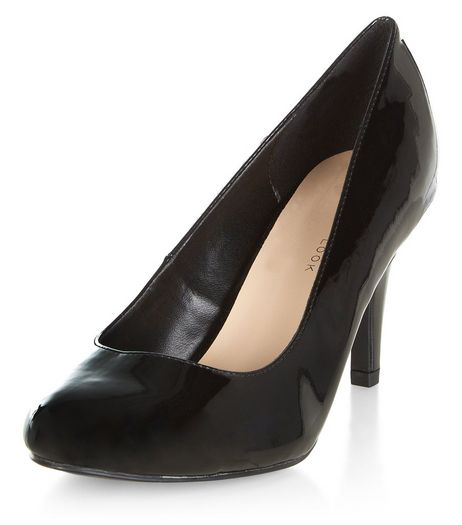 Wide Fit Black Patent Court Heels | New Look