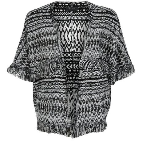 Teens Black Aztec Print Tassel Cardigan | New Look