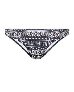 Black Aztec Print Bikini Bottoms | New Look