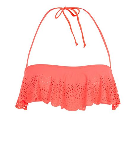 Coral Scallop Hem Laser Cut Out Flounce Bikini Top | New Look