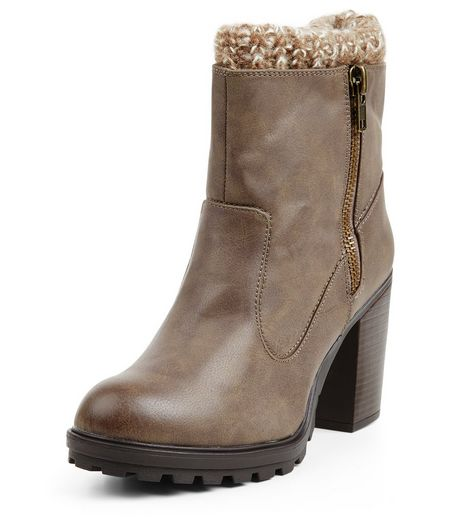 Light Brown Knitted Cuff Block Heel Boots  | New Look