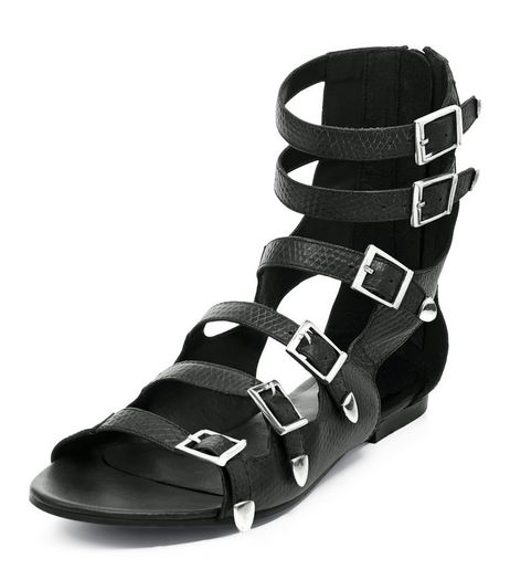Black Leather Multi Strap Sandals  | New Look