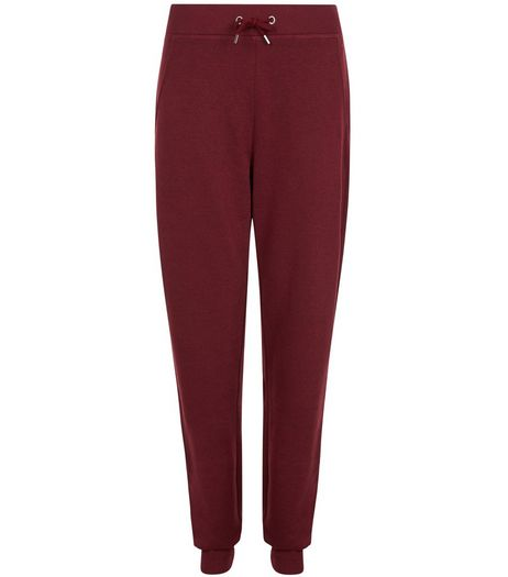 Burgunday Drawstring Joggers  | New Look