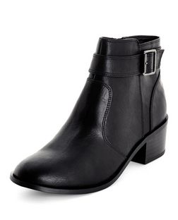 Black Comfort Buckle Strap Block Heel Ankle Boots  | New Look