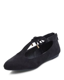 Black Suedette Bow Lace Up Pumps  | New Look