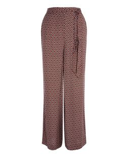 Brown Geo Print Tie Waist Wide Leg Trousers | New Look