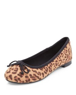 Stone Leopard Print Ballet Pumps  | New Look