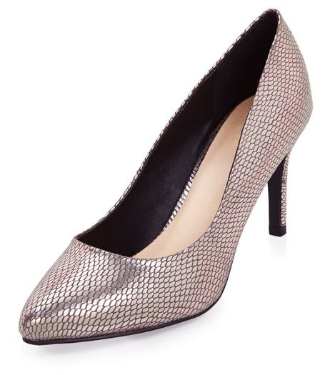 Dark Silver Comfort Snakeskin Print Pointed Heels  | New Look