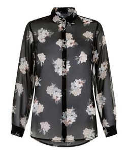 Black Chiffon Floral Print Long Sleeve Shirt  | New Look