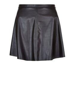Black Leather-Look Skater Skirt  | New Look