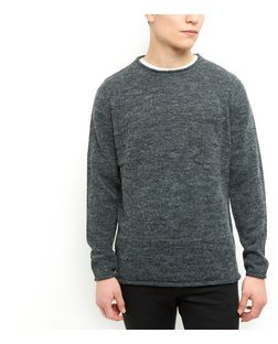 Grey Pocket Roll Hem Jumper | New Look