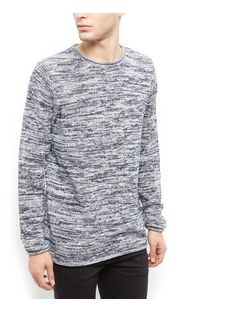 Blue Space Dye Long Sleeve Jumper  | New Look