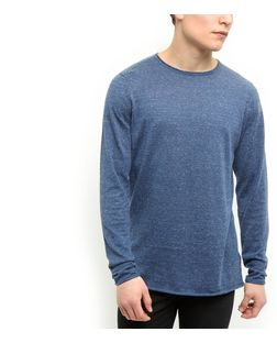 Blue Raw Hem Jumper | New Look
