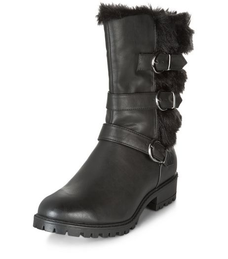 Black Faux Fur Multi Strap Biker Boots  | New Look