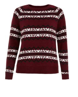 Teens Burgundy Stripe Print Jumper  | New Look