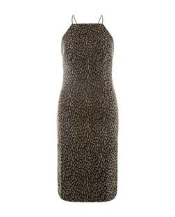 Black Animal Print Metallic Bodycon Dress  | New Look