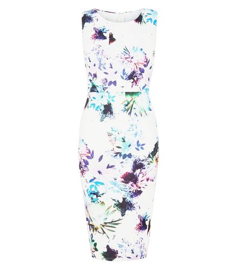 AX Paris White Floral Print Overlay Midi Dress | New Look