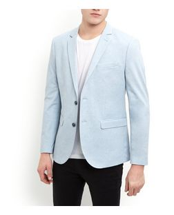 Pale Blue Jersey Blazer  | New Look