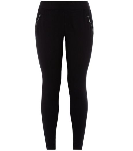 Curves Black Zip Pocket Leggings  | New Look