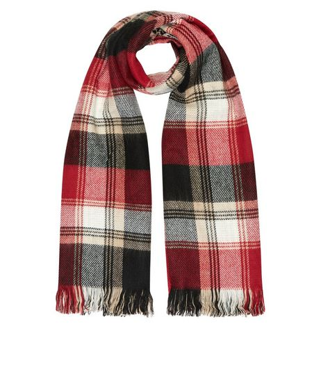 Red and Camel Check Scarf  | New Look