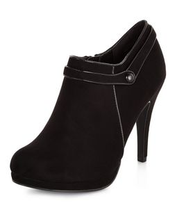Black Strap Heeled Shoe Boot | New Look