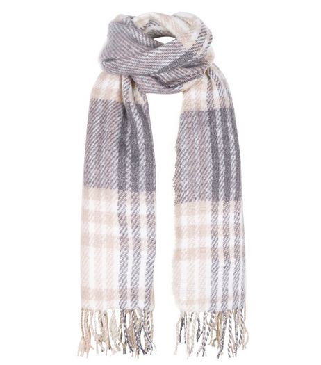 Pink Check Wool Fringed Scarf  | New Look