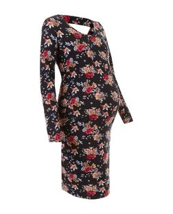 Maternity Black Floral Print Cut Out Back Dress | New Look