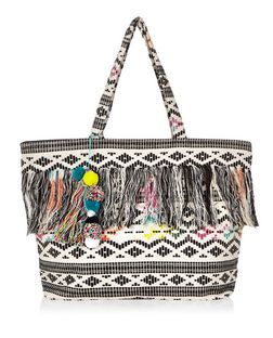 Black Aztec Fringe Pom Pom Trim Beach Bag  | New Look