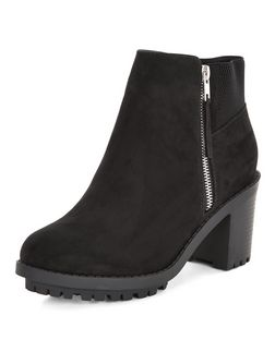 Wide Fit Black Elasticated Trim Block Heel Chelsea Boots  | New Look