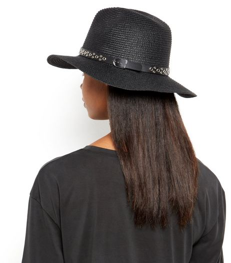 Black Eyelet Band Straw Fedora  | New Look