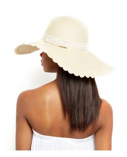 Stone Scallop Trim Crochet Straw Floppy Hat | New Look