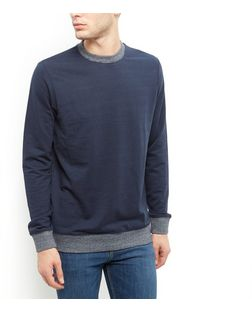 Navy Ribbed Stripe Trim Sweater  | New Look