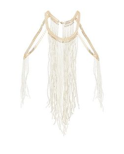 Gold Pearl Fringe Body Chain  | New Look