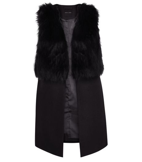 Black Faux Fur Contrast Sleeveless Jacket  | New Look