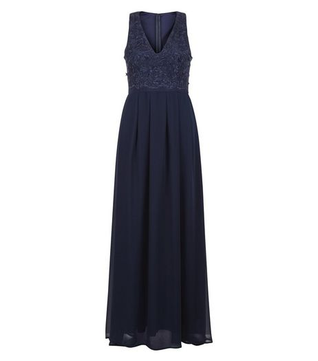 AX Paris Navy Lace Panel Maxi Dress | New Look