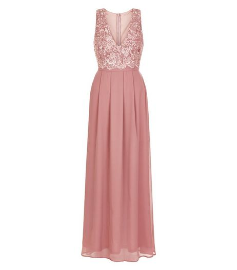 AX Paris Mid Pink Lace Panel Maxi Dress  | New Look