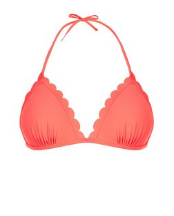 Coral Scallop Hem Triangle Bikini Top | New Look