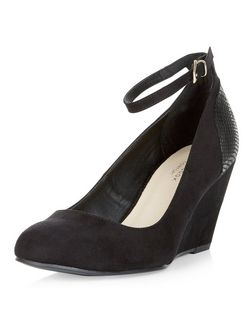 Black Comfort Snakeskin Print Panel Ankle Strap Wedges  | New Look