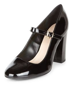 Black Patent Front Strap Block Heels  | New Look