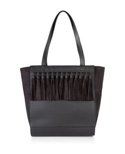 Black Tassel Front Shopper Bag | New Look