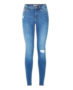 Blue Ripped Skinny Jeans  | New Look