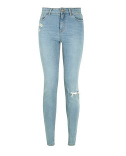 Light Blue Ripped Skinny Jeans  | New Look