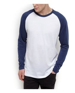 Navy Raglan Long Sleeve Top  | New Look