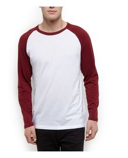 Burgundy Raglan Long Sleeve Top  | New Look