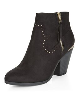 Black Suedette Studded Western Boots | New Look